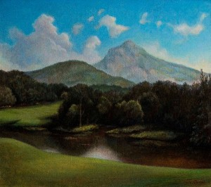 """CREATIVE AGE ART EXHIBIT: Frances Hairfield's """"Linville View of Grandfather Mt."""""""