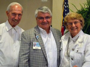 Dr. Plyler with Grace Ridge residents Dick Gordon and Maxine Cutting