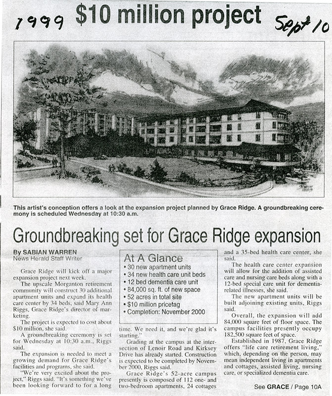 Ground Breaking Set for Grace Ridge Expansion.
